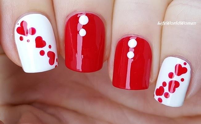 Life World Women Red White Heart Nail Art Using Dotting Tool