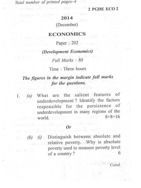 MA Economics Dibrugarh University Department Economics 2014