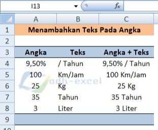 add text to number in excel cell