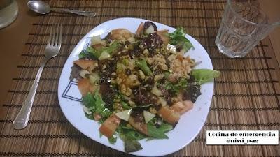 Ensalada templada con virutas de foie