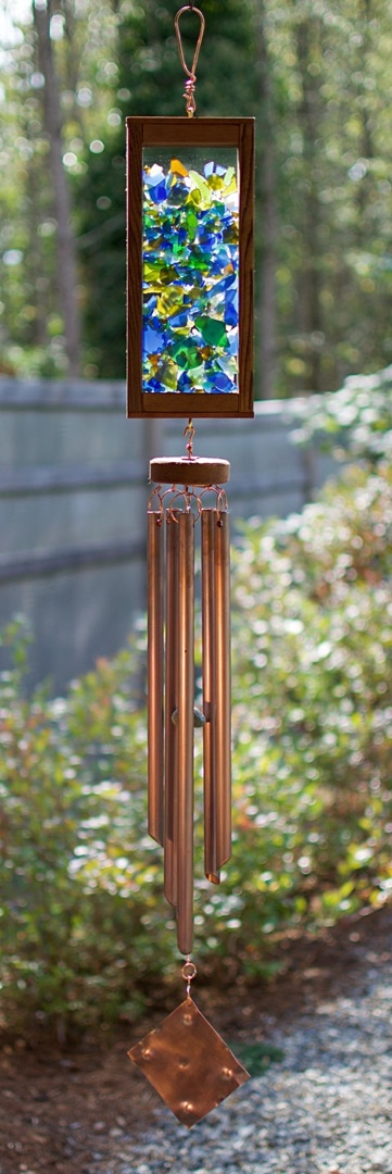 Kaleidoscope wind chime, glass, copper, cedar, by Coast Chimes