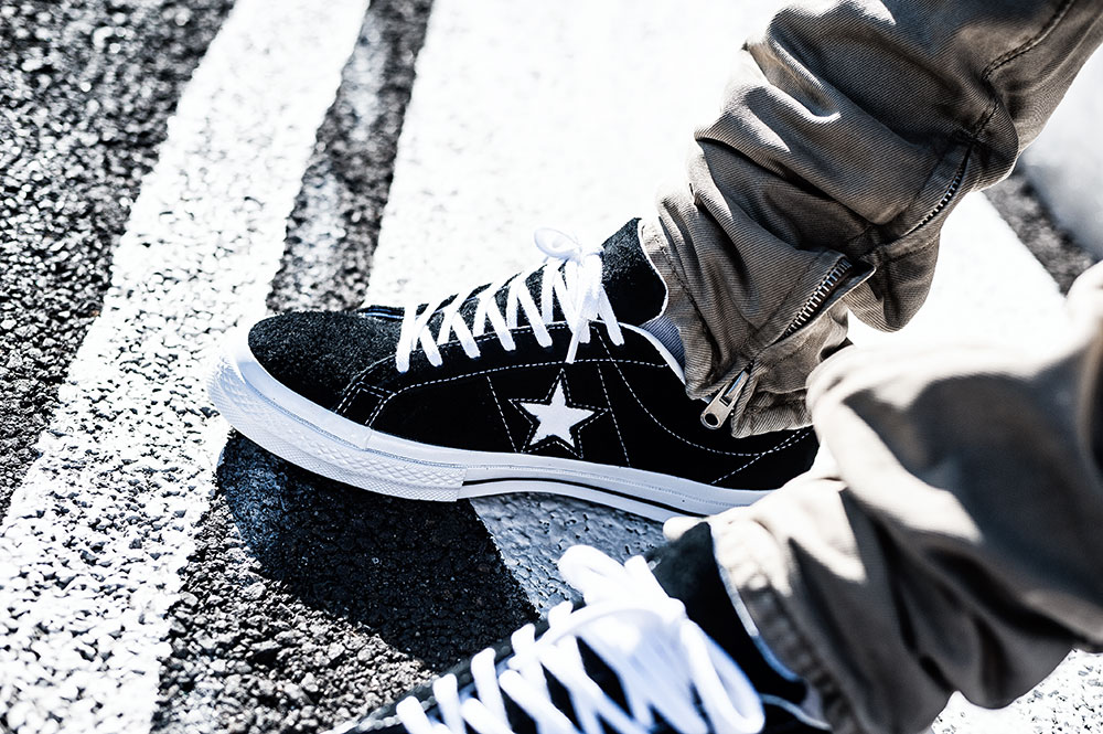 Converse One Star Premium Suede 90s Reissue Black Sneakers / MNML M1 Taupe Denim by Tom Cunningham