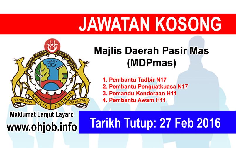Jawatan Kerja Kosong Majlis Daerah Pasir Mas (MDPmas) logo www.ohjob.info februari 2016
