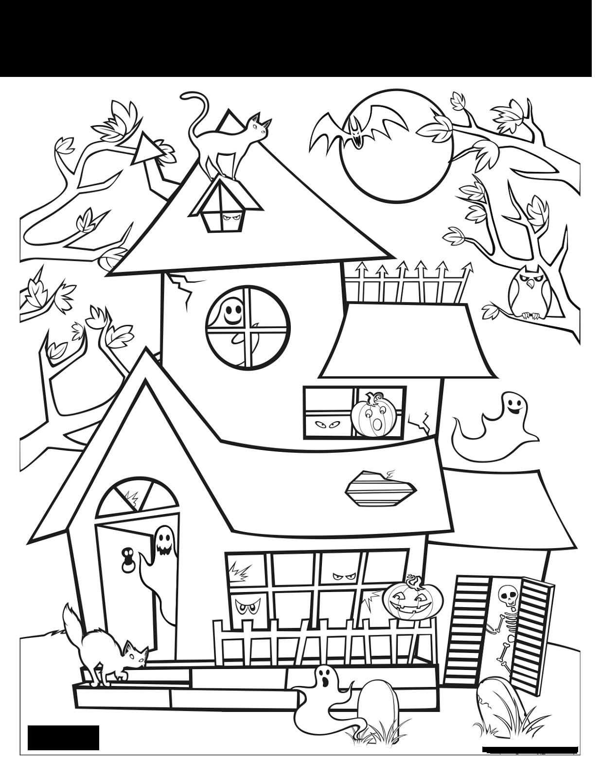 Cantinho do primeiro ciclo desenhos de halloween para pintar for Halloween house coloring pages