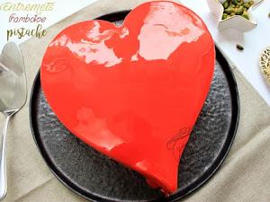 Gâteau coeur framboise pistache pour la Saint Valentin