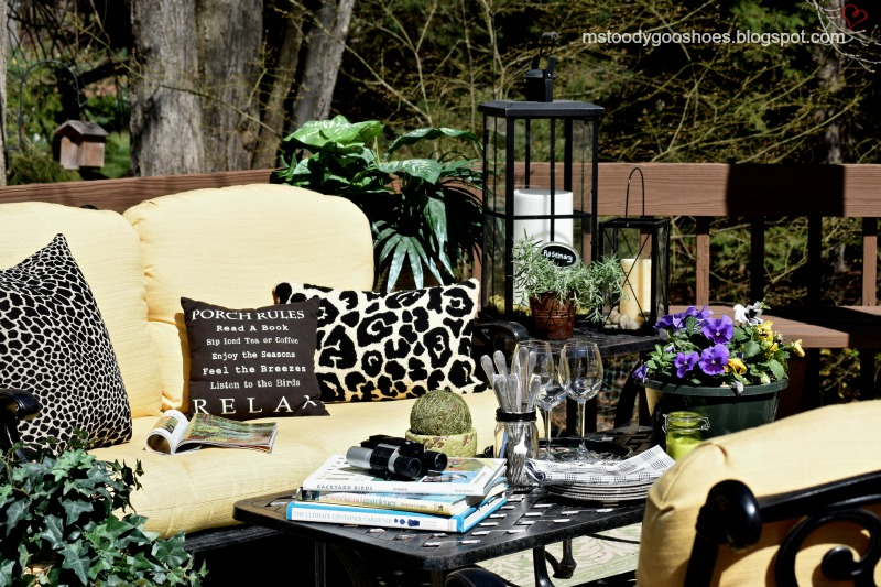 Early Spring Deck: Faux plants help an early spring deck come to life. | Ms. Toody Goo Shoes