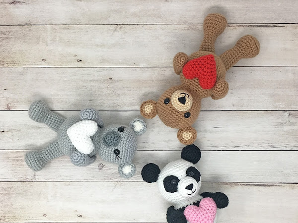 Crochet Valentine Bear, Panda and Koala Pattern