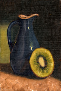 Oil painting of a blue porcelain sauce jug beside half of a dissected kiwifruit.