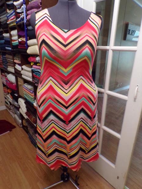 Sew Chevron Print Ity Knit Dress