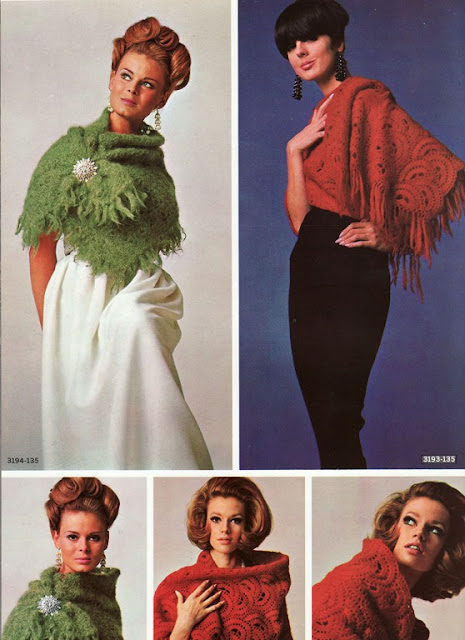 The Vintage Pattern Files: 1960s Free Crochet Pattern - Fluffy Mohair Shawl