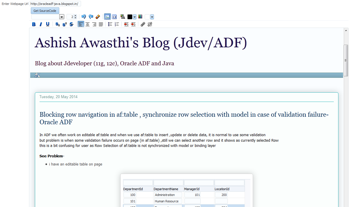 Reading html source of a webpage (url) using Oracle ADF (af