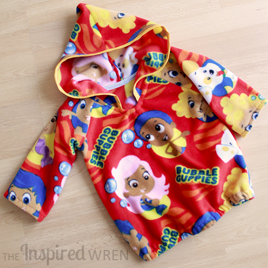 "Fleece ""Bubble Guppies"" Hoodie sewn from Happy Homemade: Sew Chic Kids Pull Over Parka 