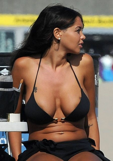 "Retro Bikini: Nabilla Benattia walks around by a ""Black ..."