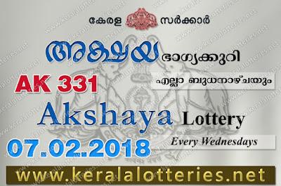 Kerala Lottery Results  7-Feb-2018 Akshaya AK-331 www.keralalotteries.net
