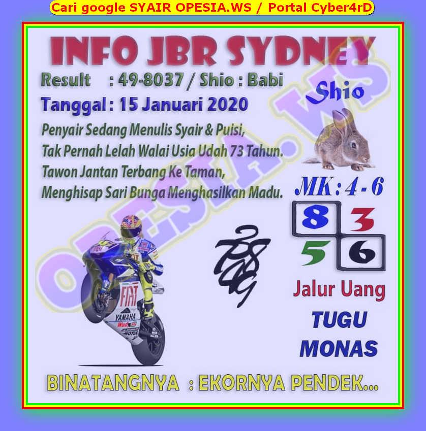 Kode syair Sydney Rabu 15 Januari 2020 2