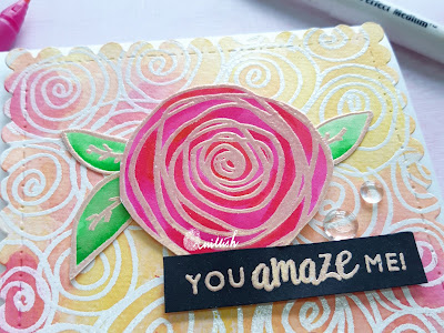 heat embossing, CAS-ual Fridays, floral card, hand drawn card, Doodling, emboss-it pen, distress inks, Technique card, quillish, design team member Ishani, beautiful card, easy card, DIY cards, cards by Ishani, zig clean colour brush pen coloring