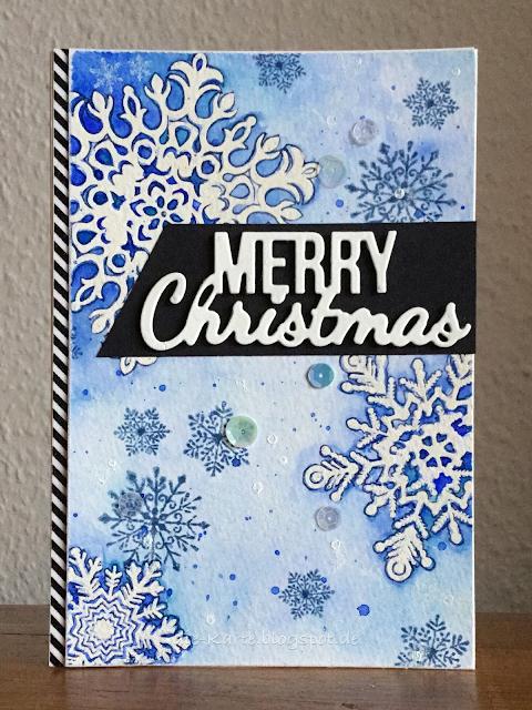 """Schneeflocken Stempel und La Blanche, """"Merry Christmas"""",  """"13x Frohe Weihnachten"""" Klartext Stempel"""