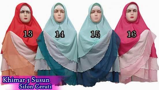 Jilbab khimar syar'i sifon ceruti 3 susun