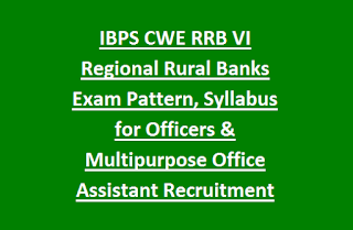 IBPS CWE RRB VI Regional Rural Banks Exam Pattern, Syllabus for Officers & Multipurpose Office Assistant Recruitment 2017