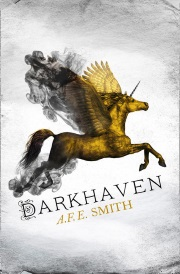 Cover of Darkhaven, featuring a winged unicorn in flight. The creature is gold, with black smoke spiraling out from its wings and hind legs.