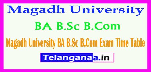 Magadh University BA B.Sc B.Com Exam Time Table