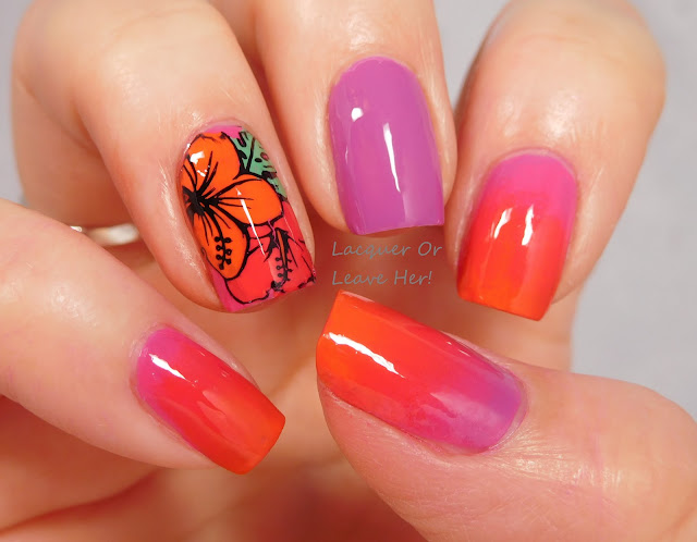 Tahiti sunset manicure with Zoya Sunsets polishes + UberChic Beauty 9-01