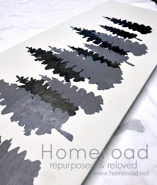Shades of Grey Stenciled Christmas Trees painting. Homeroad.net
