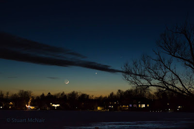 Moon, Venus, and Mercury after sunset