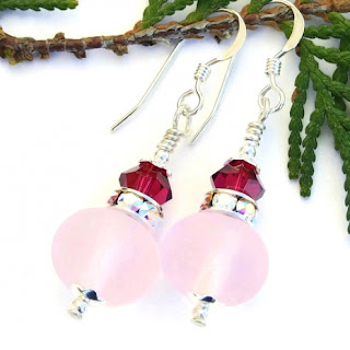frosted pink lampwork earrings with sparkling crystals gift for women