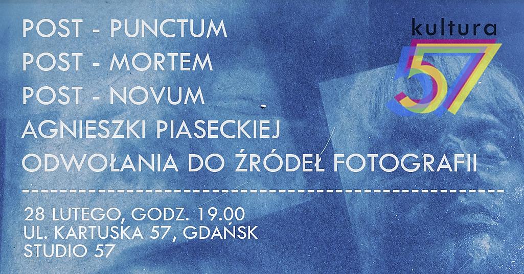 Baner informacyjny wystawy Agnieszki Piaseckiej w Gdańsku