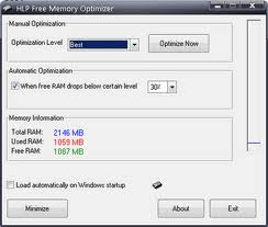 "Cara bersihkan Memori Komputer ""Free download HLP Free Memory Optimizer """