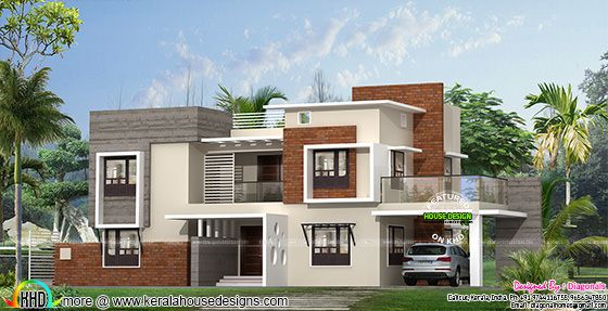 Box model modern flat roof home plan