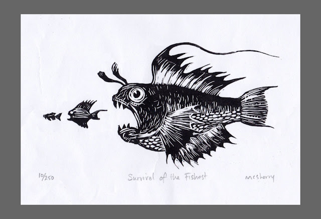 Survival of the Fishest Monochrome. Edition of 250. Hand printed from a linocut block plate