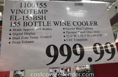 Deal for the Vinotemp EL-155BSH 155 Bottle Dual-Zone Wine Cooler at Costco