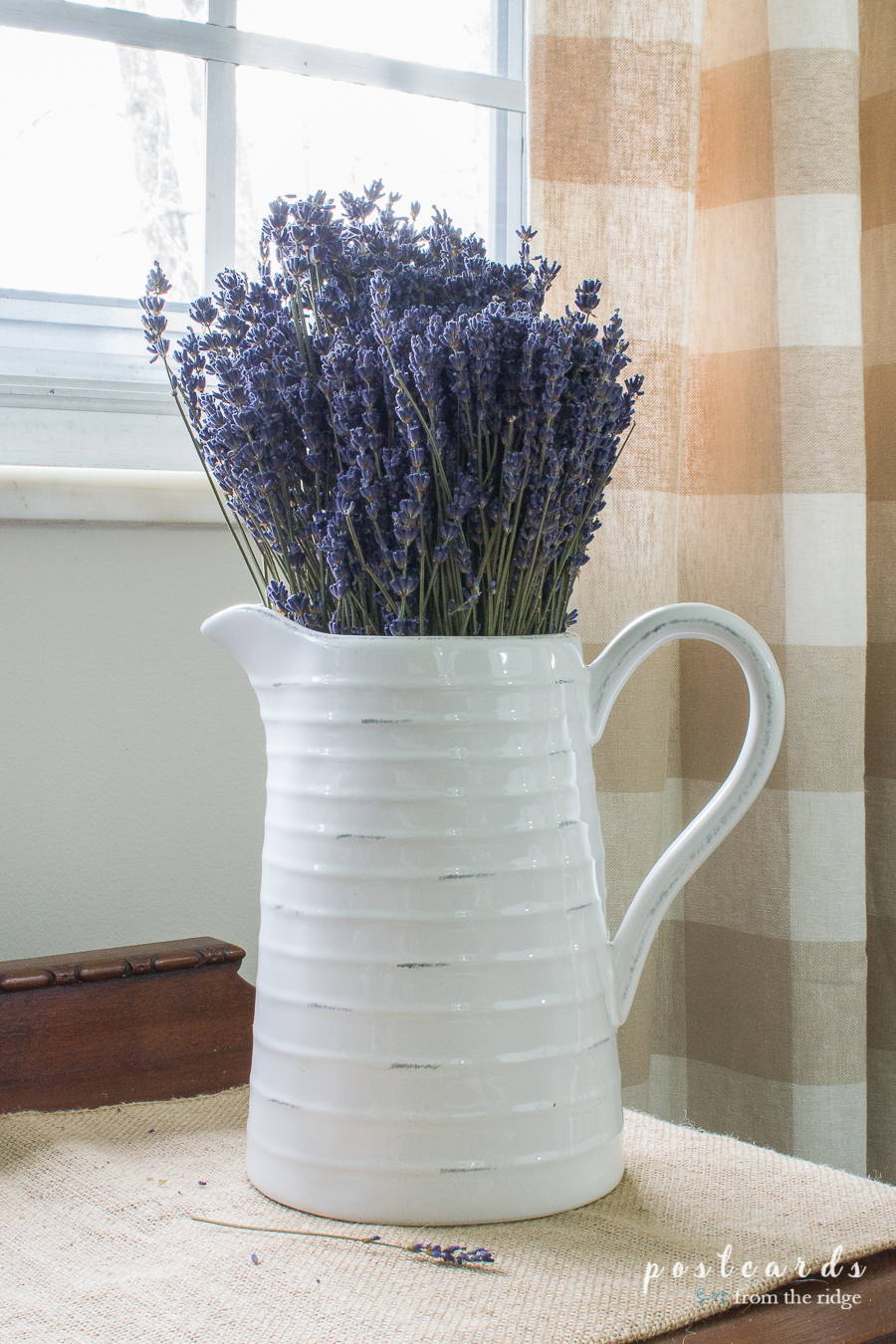 white ceramic pitcher with dried lavender
