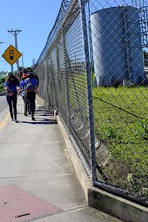 Scouts walking on sidewalk in Puriscal