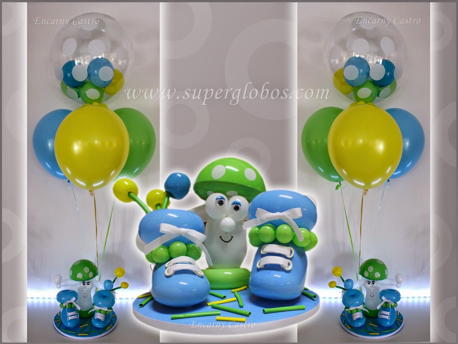 Una decoraci n con globos muy especial para el bautizo de - Decoracion con bombas para bautizo ...