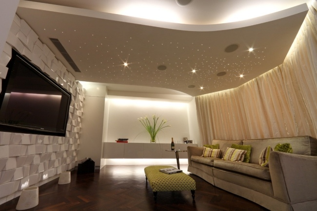 Modern Home Theater Design With Plasterboard Suspended Ceiling