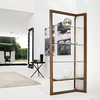 elegant modular shelving unit plus fluffy rug also vertical mirror and round table for displays