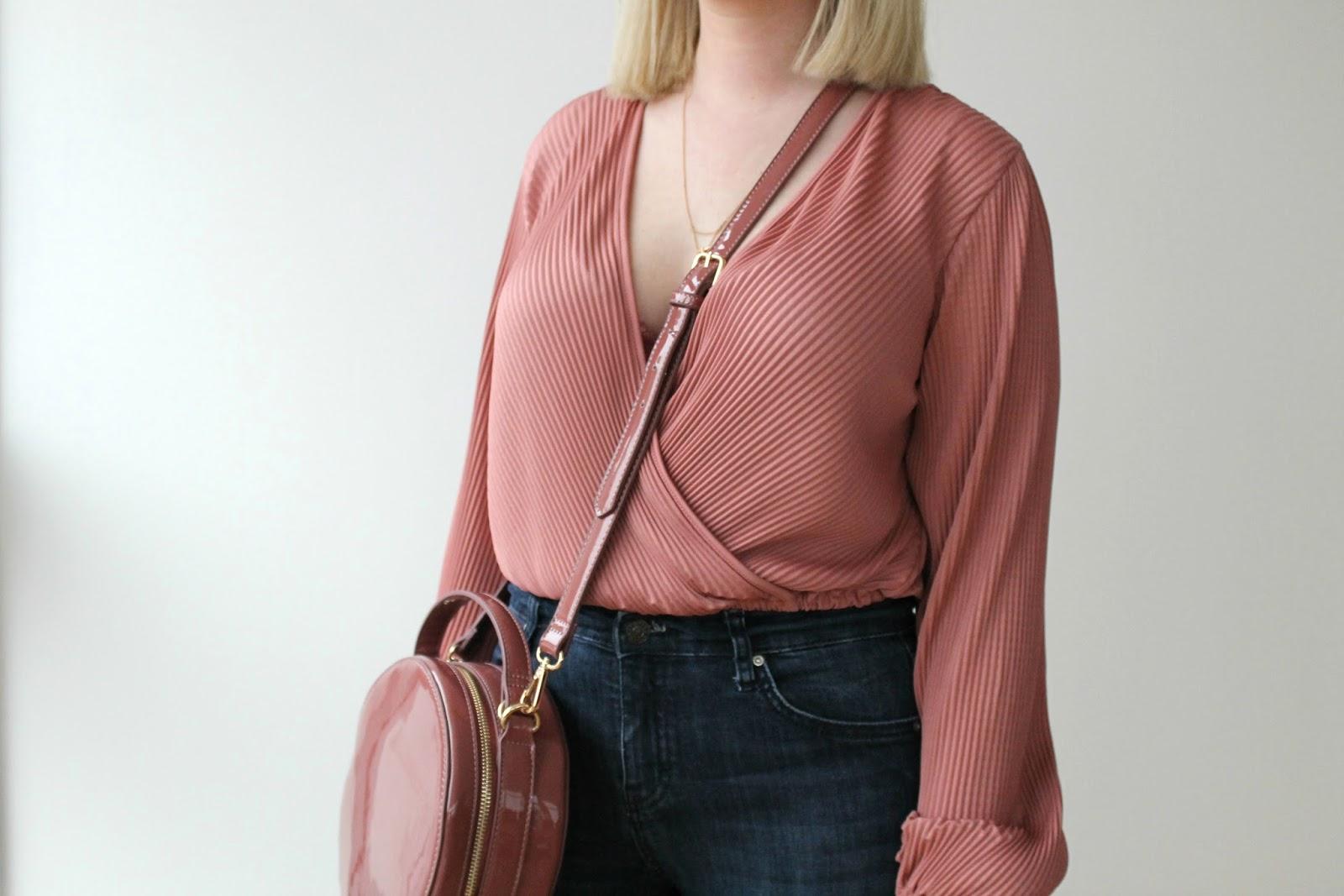Pink wrap top, pink patent bag, Topshop Jamie jeans, Nude heeled sandals