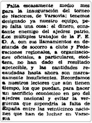 Torneo de las Naciones de Varsovia, El Siglo Futuro, 30 de julio de 1935