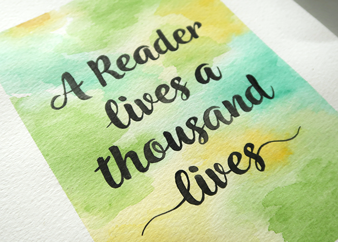 How to make a watercolor calligraphy bookish quote