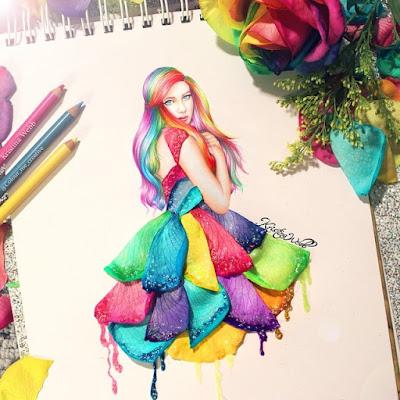 Ilustración de mujer bonita con pétalos de colores