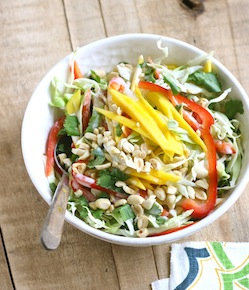 asian style mango slaw with coconut lime dressing=