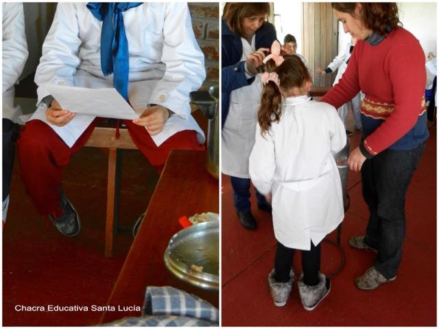 Alumno leyendo la receta y alumna participando - Chacra Educativa Santa Lucía