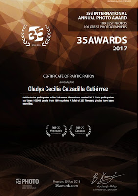 Certificate: Gladys Calzadilla, 35AWARDS 2017 - 3rd international photo awards. Photographers in the country Venezuela. TOP 30 Urban landscapes.