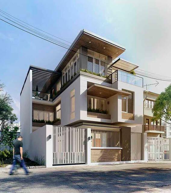 Desain 3D Bangunan Rumah Minimalis 3 Lantai