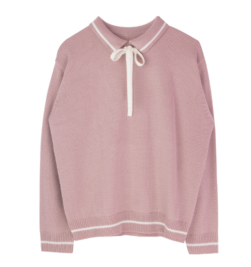Collared Ribbon-Front Knit Sweater