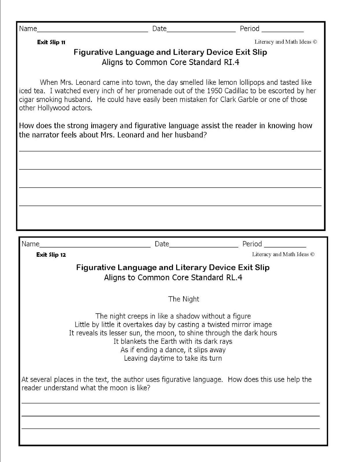 Simply Centers Figurative Language Exits Slips For Middle School