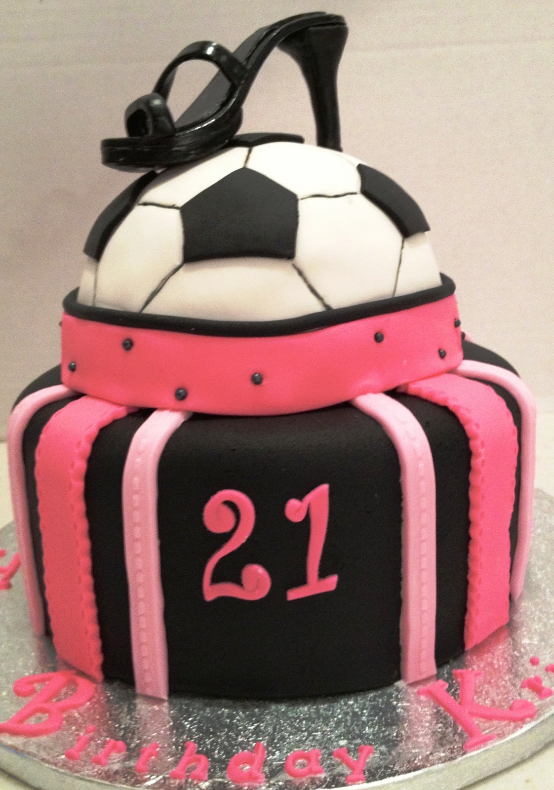 Marymel Cakes 21st Soccer N Pink